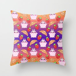 Cute happy funny pink baby bunnies, sweet adorable yummy Kawaii croissants and red ripe summer strawberries cartoon purple orange pattern design Throw Pillow