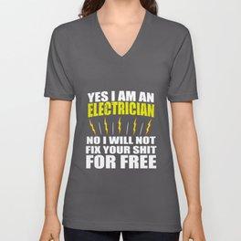Yes I Am Electrician Unisex V-Neck