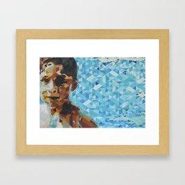 Niño en alberca, Boy in pool Framed Art Print