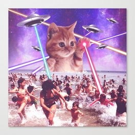 cat invader from space galaxy marsians attacking beach Canvas Print