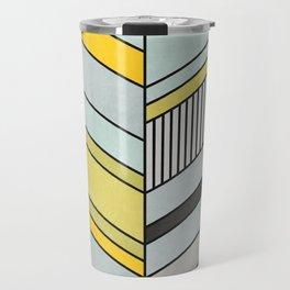 Colorful Concrete Chevron Pattern - Yellow, Blue, Grey Travel Mug