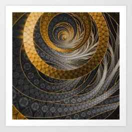 Banded Dragon Scales of Black, Gold, and Yellow Art Print