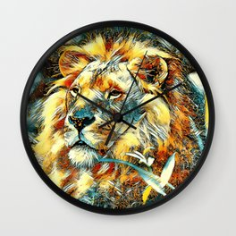 AnimalArt_Lion_20170605_by_JAMColors Wall Clock