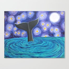 Whale Tail Under Starry Nigh Canvas Print