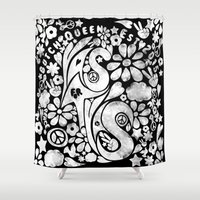 60s Shower Curtains featuring  BQ - Yas4Yas 60s Throwback - White by lessdanthree