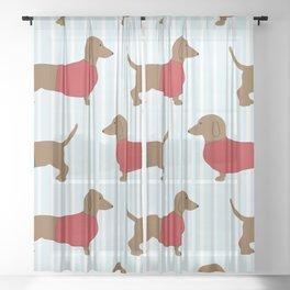 Dachshund Sausage Dog Sheer Curtain