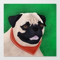 pug Canvas Prints featuring Pug by Nir P