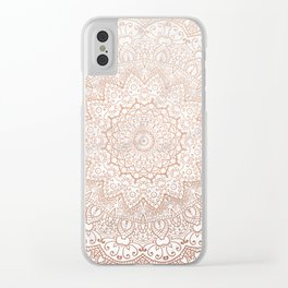 Mandala - rose gold and white marble 3 Clear iPhone Case