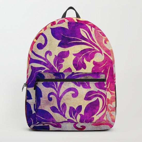 Purple Damask Pattern Backpack