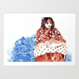 Flowers and Hanbok Art Print