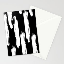 Black And White Retro Bold Paint Lines Pattern Stationery Cards