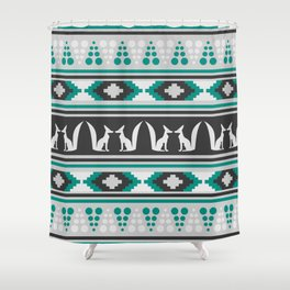 Ethnic Pattern With Foxes Shower Curtain