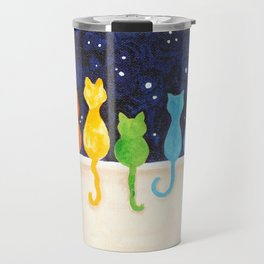 Rainbow Cats at Night Travel Mug