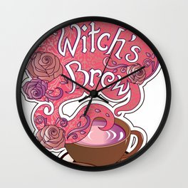 Witch's Brew Cup of Coffee Pretty Halloween Concoction print Wall Clock