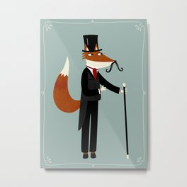 Mr Fox Takes a Stroll Metal Print