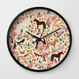 Horses floral horse breeds farm animal pets Wall Clock
