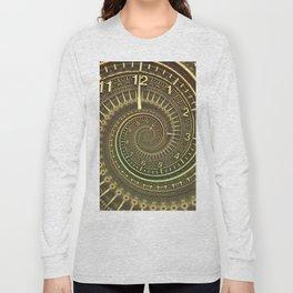Bronze Metallic Ornate Spiral Time Machine Long Sleeve T-shirt