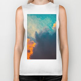 Beautiful Colorful Cotton Candy Clouds Blue Orange hues Ombre Gradient Fluffy Cotton Candy Texture Biker Tank
