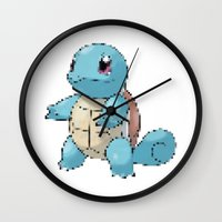 squirtle Wall Clocks featuring PIXELATED SQUIRTLE by DrakenStuff+