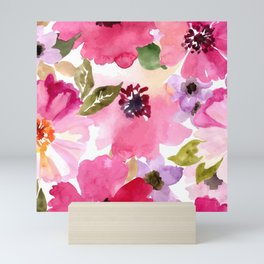 Watercolor Flowers Pink Fuchsia Mini Art Print