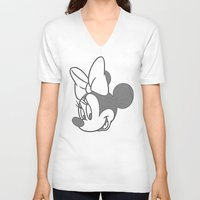 minnie V-neck T-shirts featuring Minnie Mouse by tshirtsz