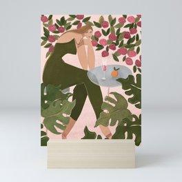 Brunch in the rose garden Mini Art Print