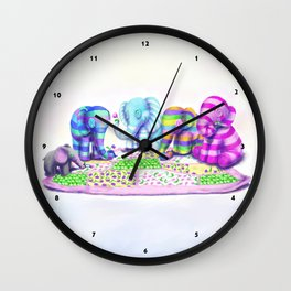 Elephant's Brunch Wall Clock