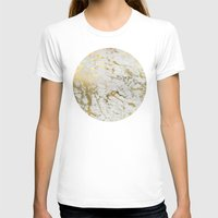 white marble T-shirts featuring Gold marble by Marta Olga Klara
