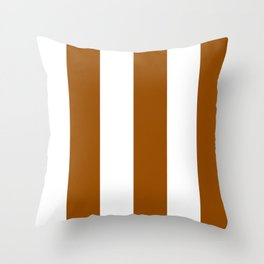 Wide Vertical Stripes - White and Brown Throw Pillow