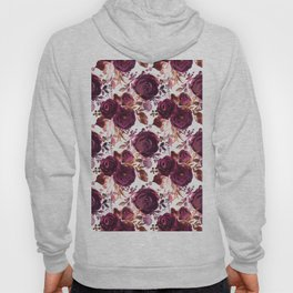 Burgundy pink white watercolor hand painted floral Hoody