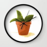 plant Wall Clocks featuring Plant by Shelley Chandelier