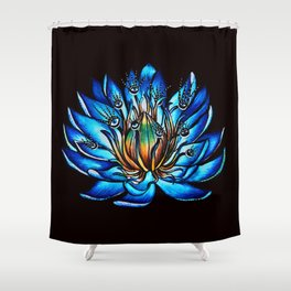 Multi Eyed Blue Water Lily Flower Shower Curtain