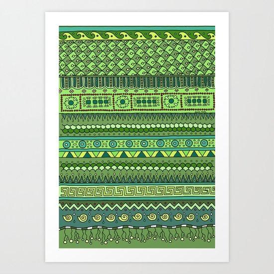 Yzor pattern 009 green-blue summer Art Print