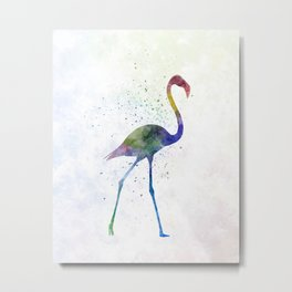 Flamingo 01 in watercolor Metal Print