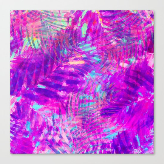 Colorful abstract palm leaves 3 Canvas Print
