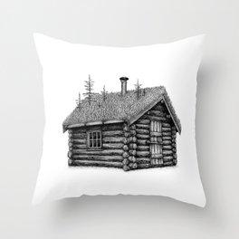 Little overgrown cabin Throw Pillow