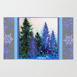 GREY WINTER SNOWFLAKE  CRYSTALS FOREST ART Rug