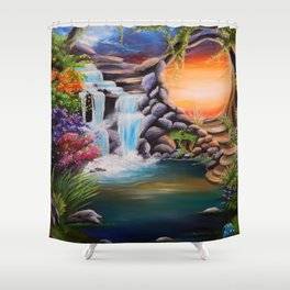 The first step Shower Curtain