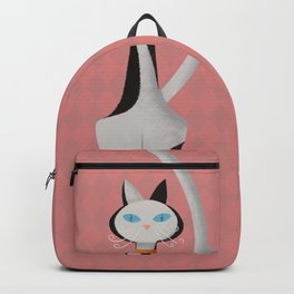 Midcentury Modern Gray Calico Kitty Cat With Blue Eyes Backpack