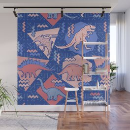 Nineties Dinosaurs Pattern  - Rose Quartz and Serenity version Wall Mural