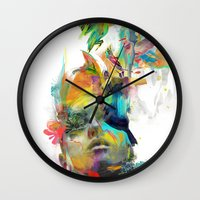 black and gold Wall Clocks featuring Dream Theory by Archan Nair