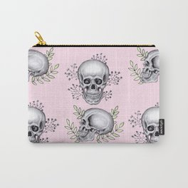 Skull with florals on pink Carry-All Pouch