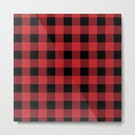 Red and Black Buffalo Plaid Lumberjack Rustic Metal Print