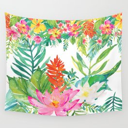 Aloha Tropical Flowers Hawaii Illustration Wall Tapestry
