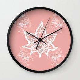 White Lotus Flower Print Wall Clock