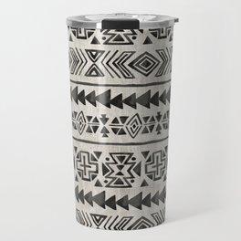 Boho Tribal Black & Cream, Geometric Print, Ink Tribal Decor Travel Mug