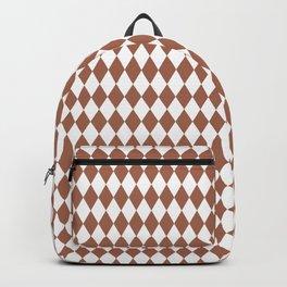Sherwin Williams Cavern Clay and White Harlequin, Rhombus, Diamond Pattern Backpack