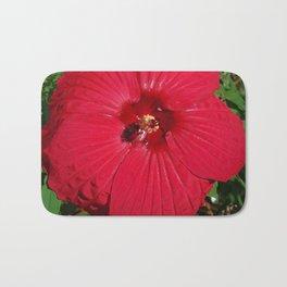 Hibiscus 'Fireball' - regal red star of my late summer garden Bath Mat
