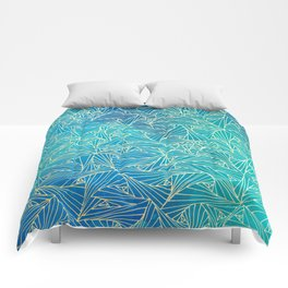 Blue ultramrine yellow geometric waltz Comforters