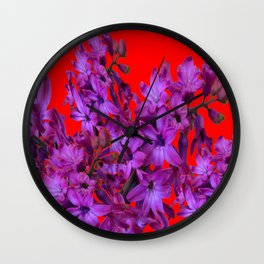 Red Color Design Amethyst Purple Hyacinth Flowers Art Wall Clock